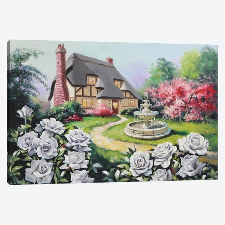 "Rosebud Cottage Canvas Print #RSR71} by D. ""Rusty"" Rust Art Print"