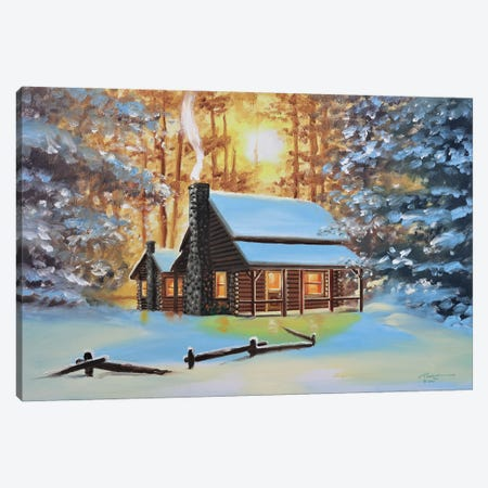 """Cute Snow-Covered Cabin In The Woods Canvas Print #RSR95} by D. """"Rusty"""" Rust Canvas Art"""