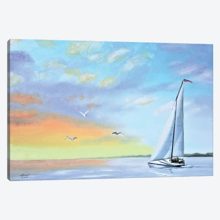 """Sailboat At Sunset Canvas Print #RSR98} by D. """"Rusty"""" Rust Art Print"""