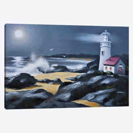 """Lighthouse With Moonlight Canvas Print #RSR99} by D. """"Rusty"""" Rust Art Print"""
