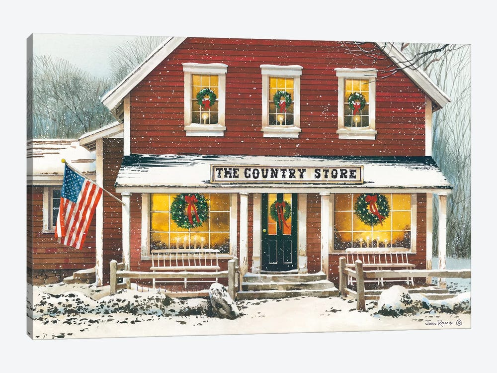 Country Christmas by John Rossini 1-piece Canvas Art