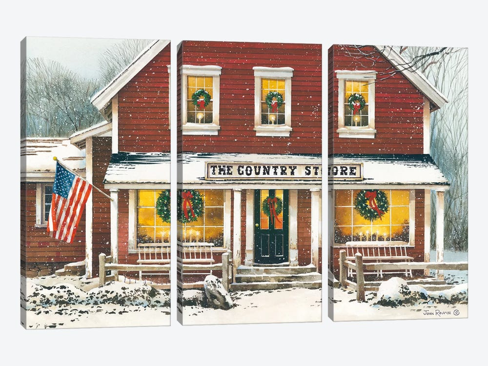 Country Christmas by John Rossini 3-piece Canvas Wall Art