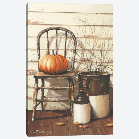 Pumpkin & Chair Canvas Print #RSS9} by John Rossini Canvas Artwork