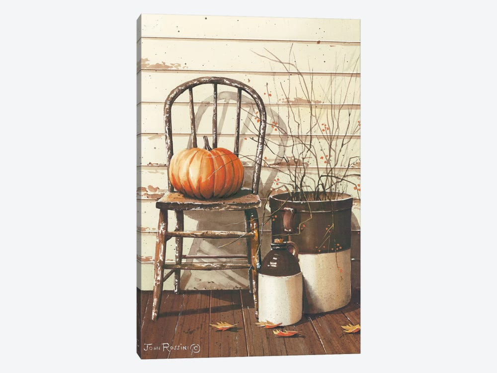 Pumpkin & Chair by John Rossini 1-piece Canvas Wall Art