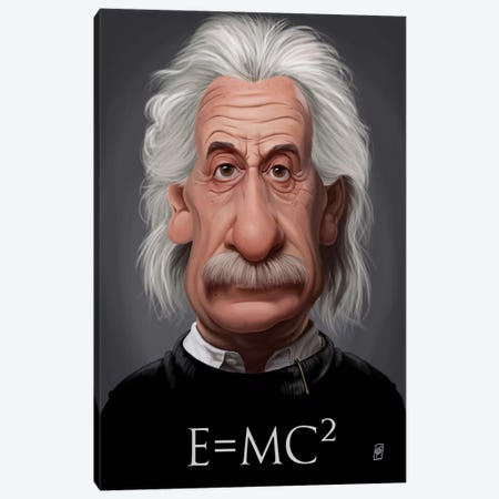 Celebrity Sunday Series: Albert Einstein (E=MC2) Canvas Print #RSW121} by Rob Snow Canvas Wall Art