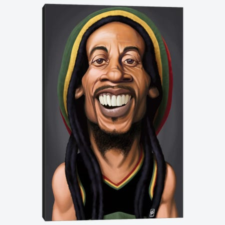 Celebrity Sunday Series: Bob Marley Canvas Print #RSW128} by Rob Snow Canvas Artwork