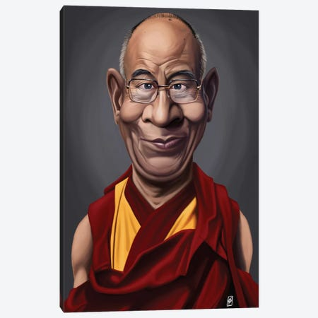 Dalai Lama Canvas Print #RSW133} by Rob Snow Art Print