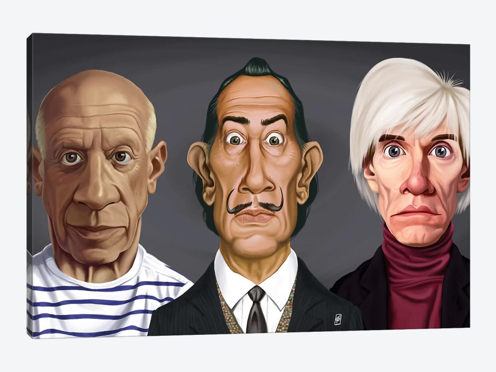 Great Artists (Dali, Picasso, Warhol) by Rob Snow 1-piece Canvas Wall Art