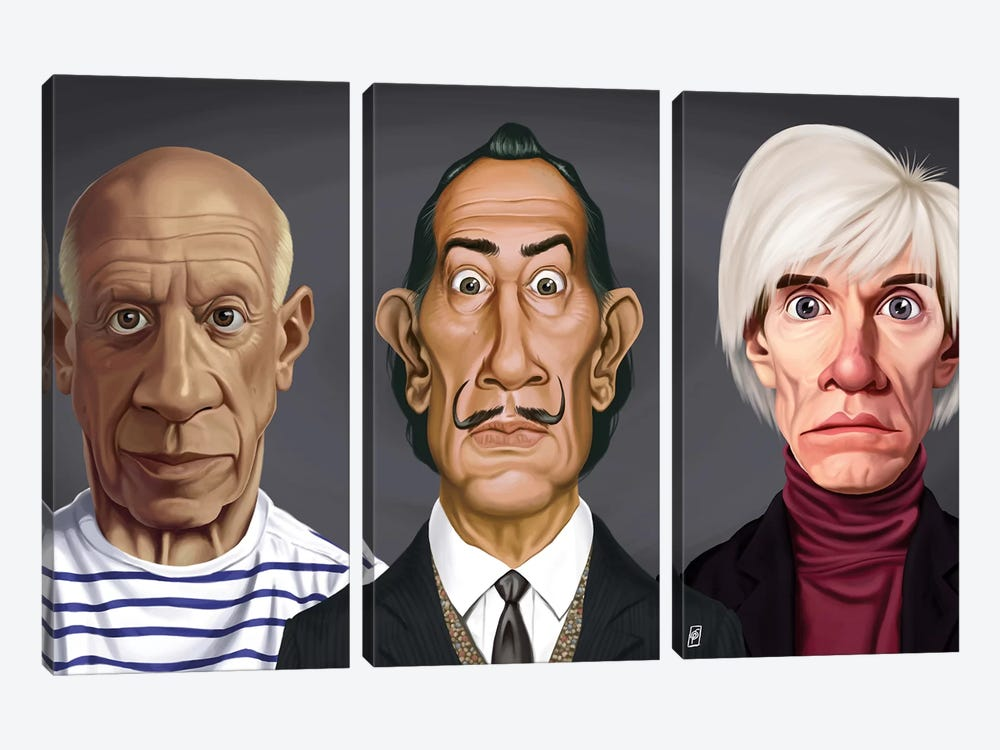 Great Artists (Dali, Picasso, Warhol) by Rob Snow 3-piece Canvas Wall Art