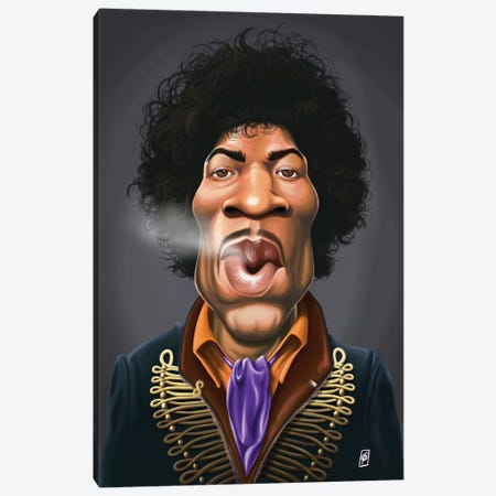 Jimi Hendrix Canvas Print #RSW144} by Rob Snow Art Print