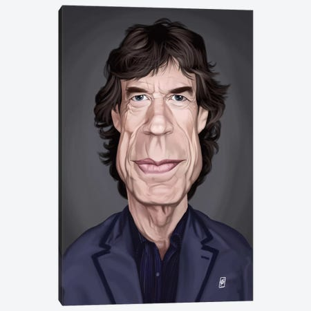 Mick Jagger Canvas Print #RSW155} by Rob Snow Canvas Wall Art
