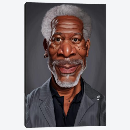 Morgan Freeman Canvas Print #RSW158} by Rob Snow Canvas Art Print