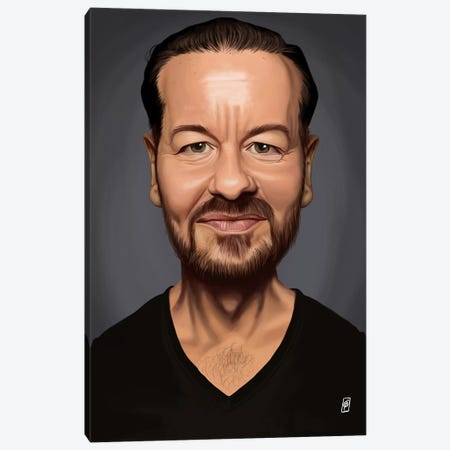 Ricky Gervais Canvas Print #RSW163} by Rob Snow Canvas Wall Art