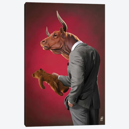 Bull Canvas Print #RSW176} by Rob Snow Canvas Art