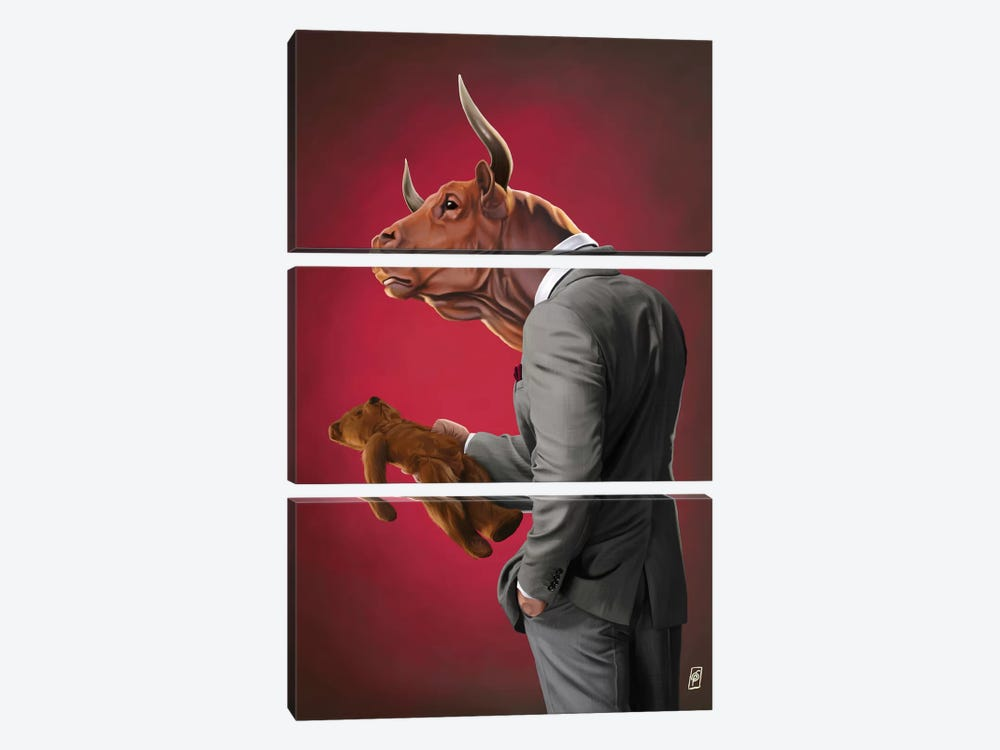Suited Series: Bull by Rob Snow 3-piece Canvas Print