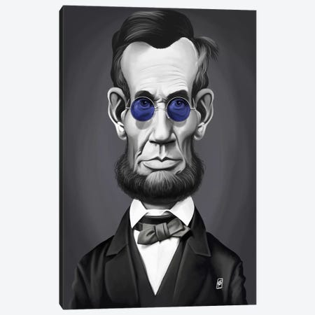 Abraham Lincoln (Steampunk Glasses) Canvas Print #RSW186} by Rob Snow Art Print