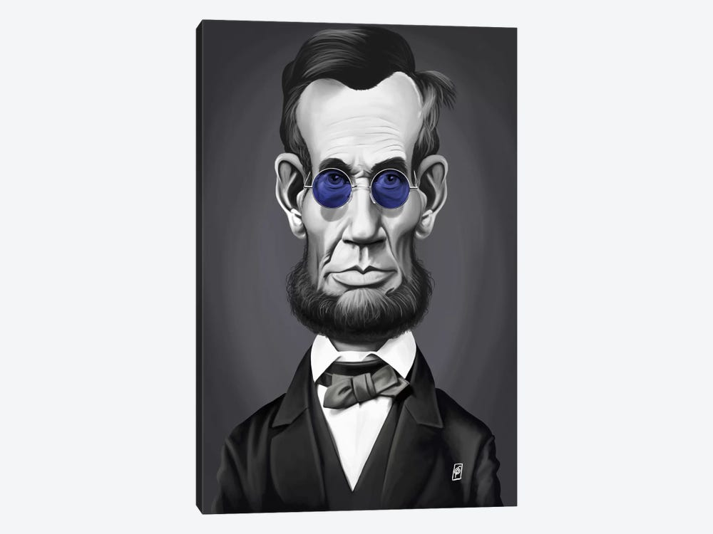 Vintage Celebrity Sunday Series: Abraham Lincoln (Steampunk Glasses) by Rob Snow 1-piece Canvas Wall Art