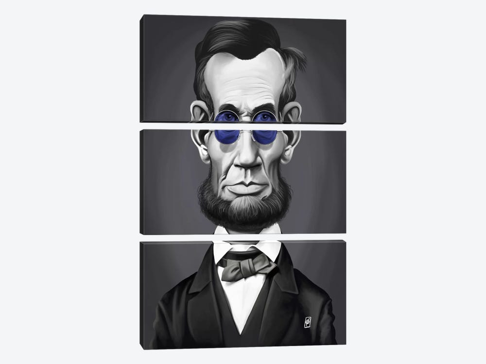 Vintage Celebrity Sunday Series: Abraham Lincoln (Steampunk Glasses) by Rob Snow 3-piece Canvas Wall Art