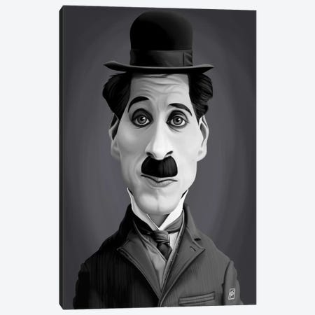 Charlie Chaplin Canvas Print #RSW189} by Rob Snow Canvas Wall Art