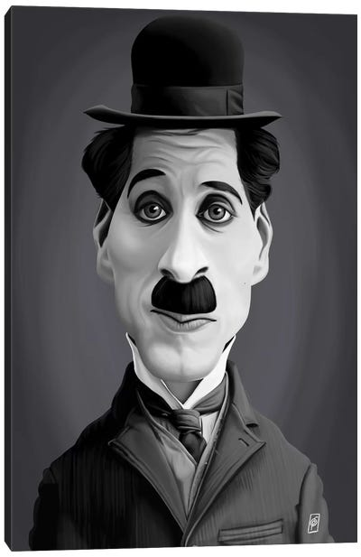 Vintage Celebrity Sunday Series: Charlie Chaplin Canvas Art Print