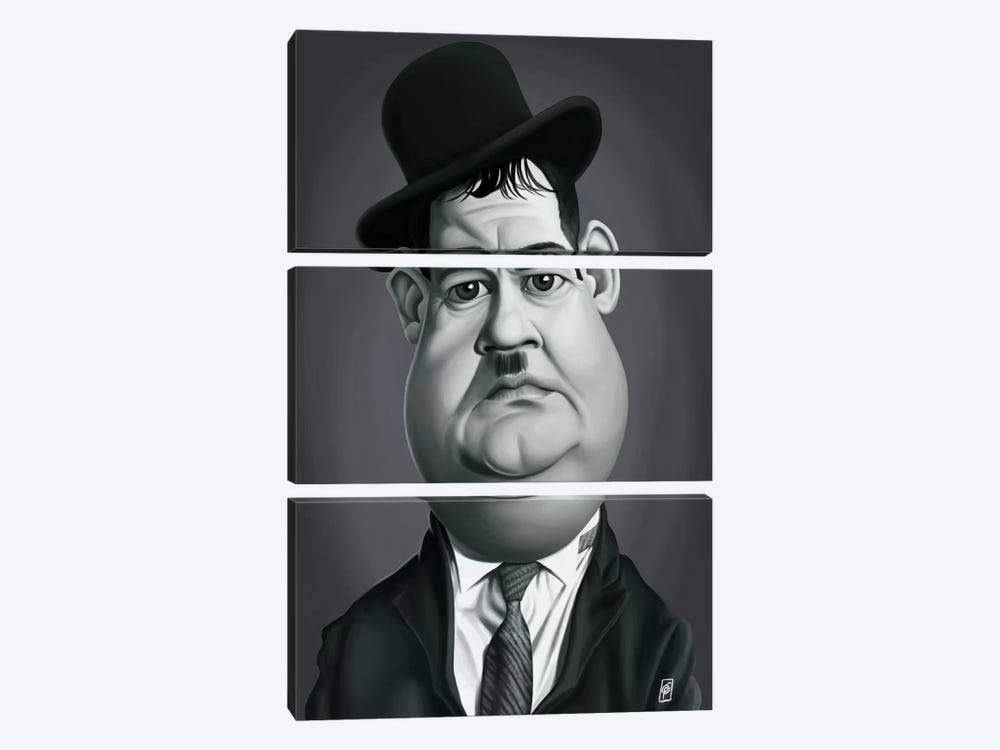 Oliver Hardy by Rob Snow 3-piece Canvas Wall Art