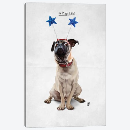 A Pug's Life I Canvas Print #RSW197} by Rob Snow Canvas Wall Art