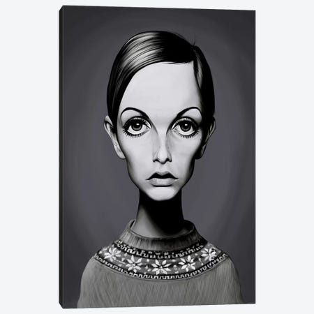 Twiggy (Lesley Lawson) Canvas Print #RSW253} by Rob Snow Canvas Art