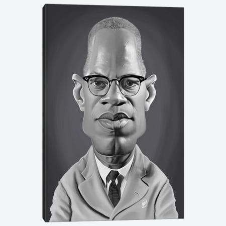 Malcolm X Canvas Print #RSW276} by Rob Snow Canvas Art Print