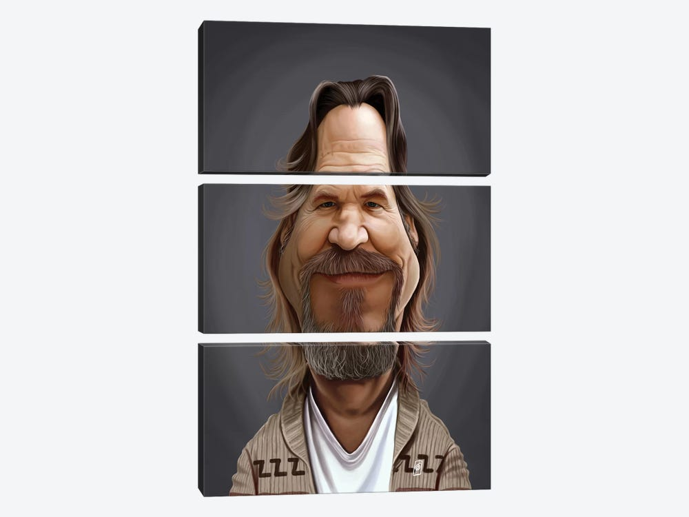 Jeff Bridges by Rob Snow 3-piece Canvas Art Print