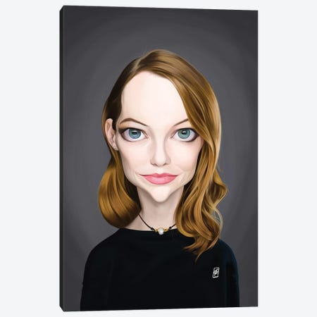 Emma Stone Canvas Print #RSW330} by Rob Snow Art Print