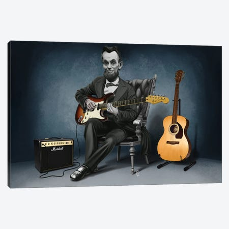Abraham Lincoln - The Rushmores Riff Canvas Print #RSW395} by Rob Snow Canvas Art