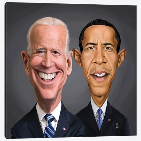 Biden And Barack Canvas Print #RSW407} by Rob Snow Canvas Art