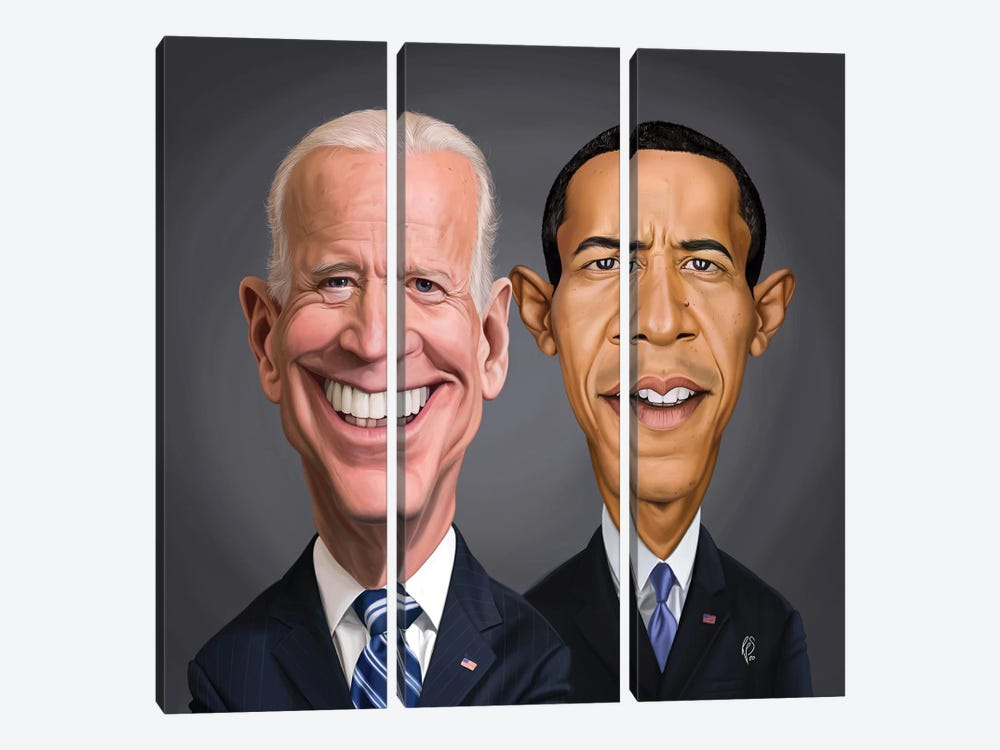 Biden And Barack by Rob Snow 3-piece Canvas Art Print