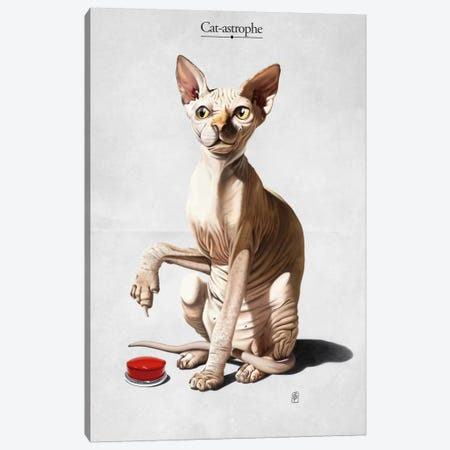 Cat-astrophe Canvas Print #RSW73} by Rob Snow Canvas Wall Art