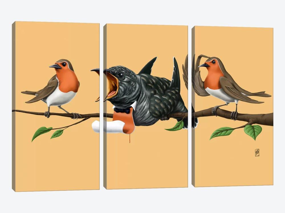 Cock Robin III by Rob Snow 3-piece Canvas Art Print