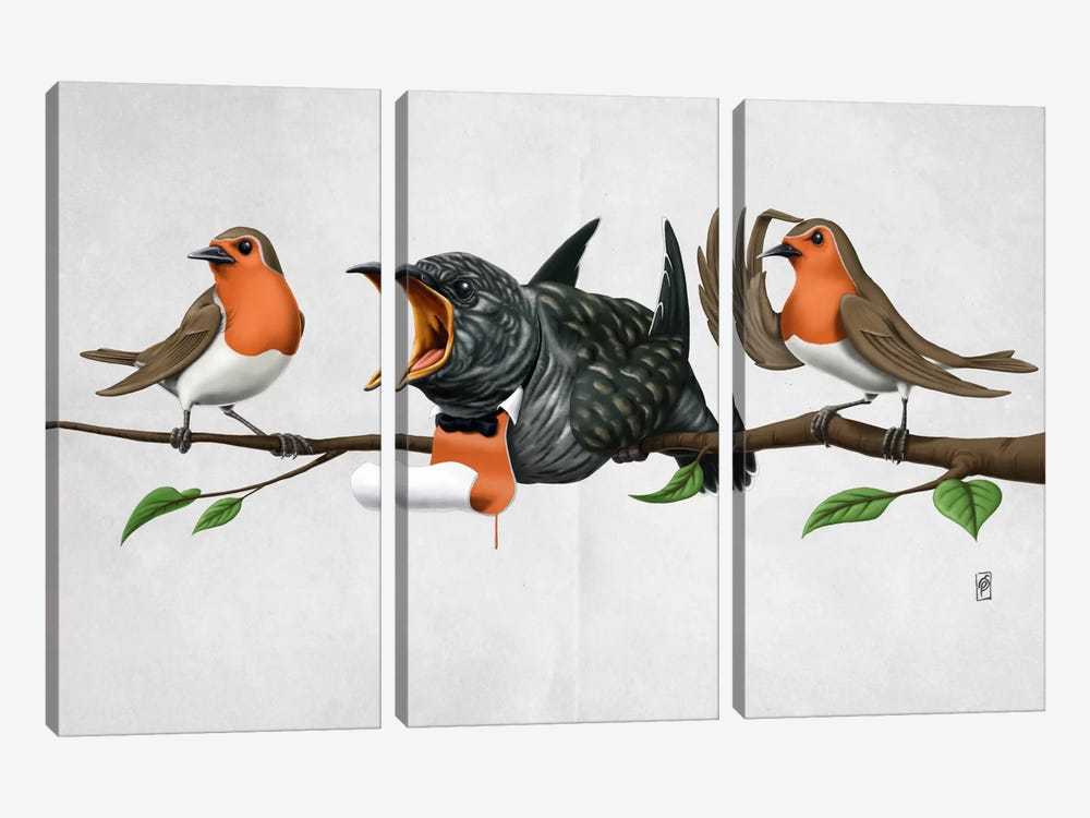 Cock Robin II by Rob Snow 3-piece Canvas Art