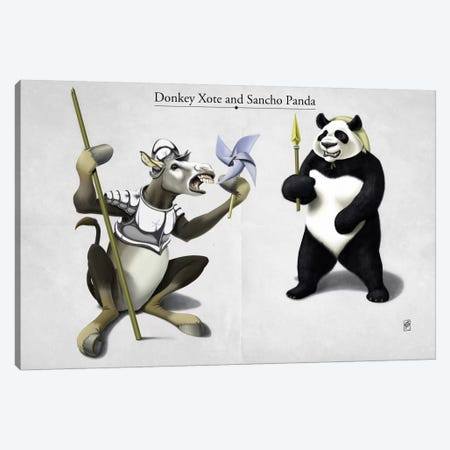 Donkey Xote And Sancho Panda Canvas Print #RSW84} by Rob Snow Canvas Artwork