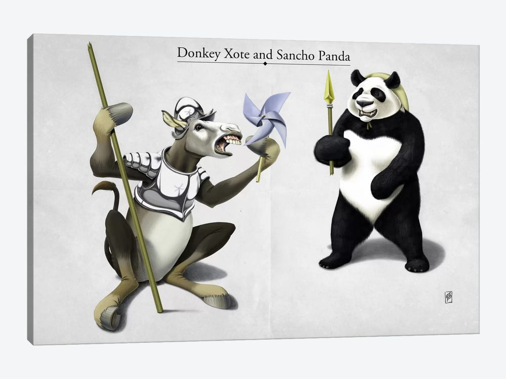 Donkey Xote And Sancho Panda by Rob Snow 1-piece Canvas Print