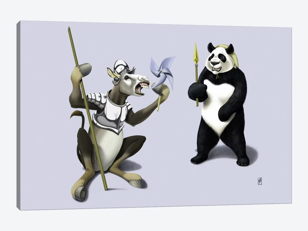 Donkey Xote And Sancho Panda III by Rob Snow 1-piece Canvas Artwork