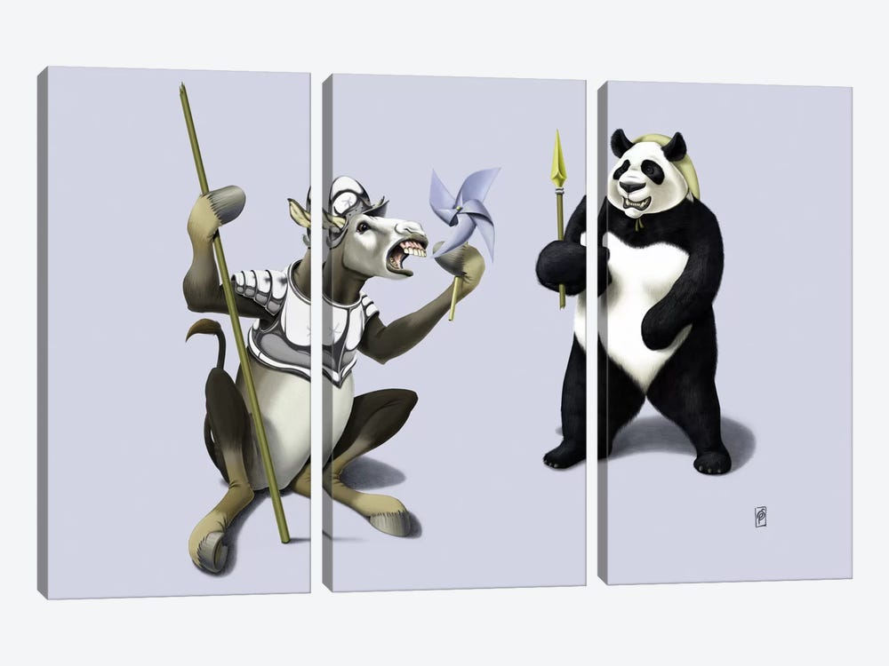 Donkey Xote And Sancho Panda III by Rob Snow 3-piece Canvas Wall Art