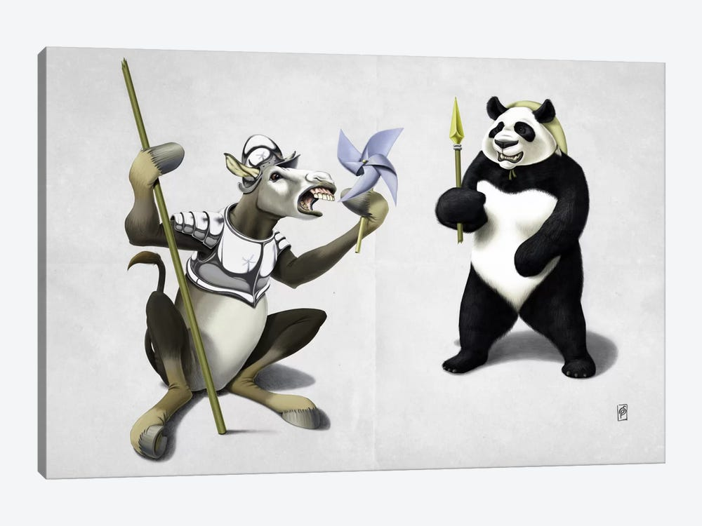 Donkey Xote And Sancho Panda II by Rob Snow 1-piece Art Print