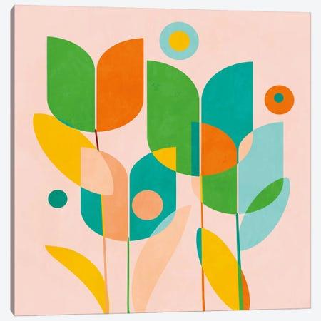 Circles Shapes Tulips Canvas Print #RTB10} by Ana Rut Bré Canvas Artwork