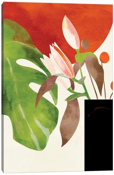 Tropical Sun With Flowers Canvas Art Print