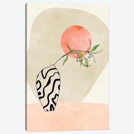 Floral Stillife With Moon In Pastel Canvas Print #RTB122} by Ana Rut Bré Art Print