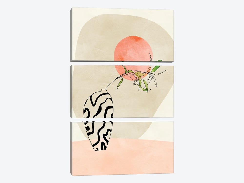 Floral Stillife With Moon In Pastel by Ana Rut Bré 3-piece Canvas Wall Art