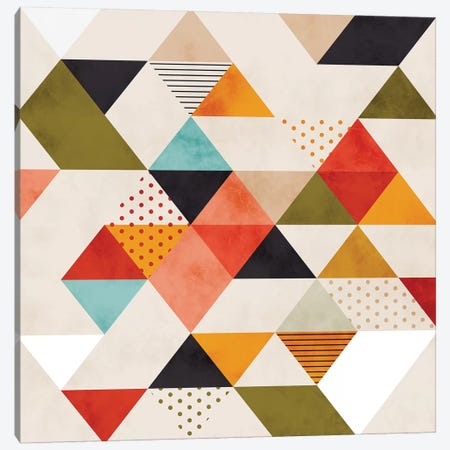 Geometric Mid Century Triangles Canvas Print #RTB25} by Ana Rut Bré Canvas Wall Art