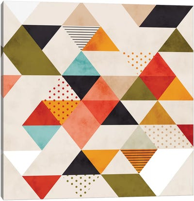 Geometric Mid Century Triangles Canvas Art Print