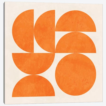 Geometric Shapes Orange Canvas Print #RTB30} by Ana Rut Bré Canvas Art