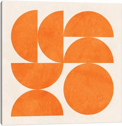Geometric Shapes Orange Canvas Art Print