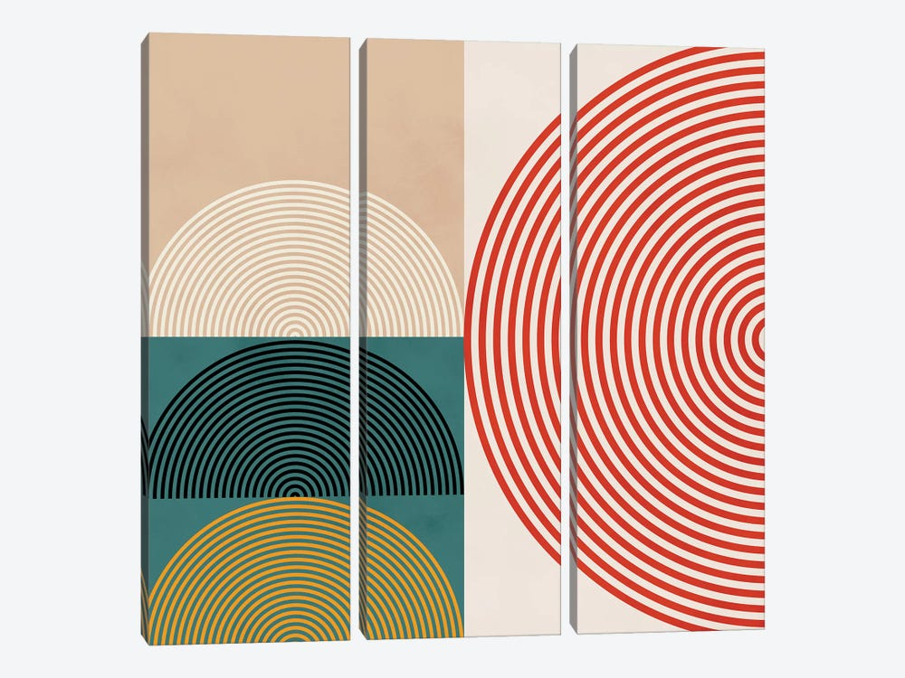 Lines & Shapes III by Ana Rut Bré 3-piece Canvas Wall Art